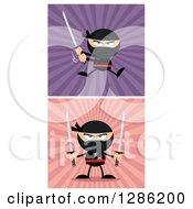 Clipart Of Cartoon Ninja Warriors Fighting With Katana Swords Over Pink And Purple Rays Royalty Free Vector Illustration