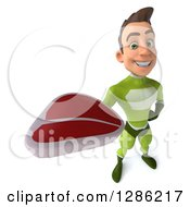 Clipart Of A 3d Young Brunette White Male Super Hero In A Green Suit Holding Up A Beef Steak Royalty Free Illustration
