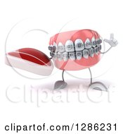 Clipart Of A 3d Metal Mouth Teeth Mascot With Braces Holding Up A Finger And A Beef Steak Royalty Free Illustration