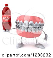 Clipart Of A 3d Metal Mouth Teeth Mascot With Braces Holding A Soda Bottle Royalty Free Illustration