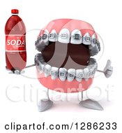 Clipart Of A 3d Metal Mouth Teeth Mascot With Braces Holding A Thumb Up And A Soda Bottle Royalty Free Illustration