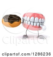 3d Mouth Teeth Mascot Holding And Pointing To A Chocolate Frosted Donut