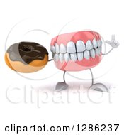 3d Mouth Teeth Mascot Holding Up A Finger And A Chocolate Frosted Donut