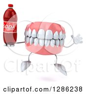 3d Mouth Teeth Mascot Jumping And Holding A Soda Bottle