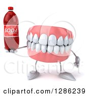 Clipart Of A 3d Mouth Teeth Mascot Holding A Soda Bottle Royalty Free Illustration
