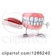 Clipart Of A 3d Mouth Teeth Mascot Holding A Beef Steak And Thumb Down Royalty Free Illustration
