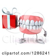 3d Mouth Teeth Mascot Holding A Gift