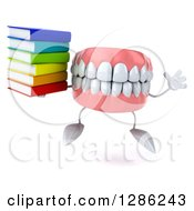 3d Mouth Teeth Mascot Holding A Stack Of Books And Jumping