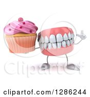 3d Mouth Teeth Mascot Holding Up A Finger And A Pink Frosted Cupcake