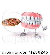 3d Mouth Teeth Mascot Shrugging And Holding A Pizza