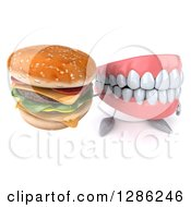 3d Mouth Teeth Mascot Holding Up A Double Cheeseburger