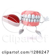 3d Mouth Teeth Mascot Holding A Beef Steak And Jumping