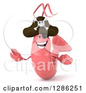 Clipart Of A 3d Pink Shrimp Pirate Welcoming Royalty Free Illustration by Julos