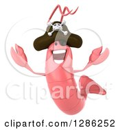Clipart Of A 3d Pink Shrimp Pirate Jumping Royalty Free Illustration by Julos