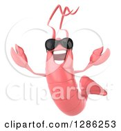 Clipart Of A 3d Pink Shrimp Wearing Sunglasses And Jumping Royalty Free Illustration by Julos