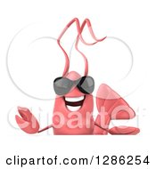 Clipart Of A 3d Happy Pink Shrimp Wearing Sunglasses Over A Sign Royalty Free Illustration by Julos