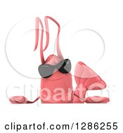 Clipart Of A 3d Pink Shrimp Wearing Sunglasses Over A Sign Royalty Free Illustration by Julos