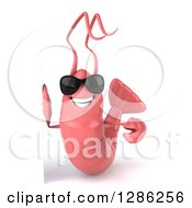 Clipart Of A 3d Pink Shrimp Wearing Sunglasses Around A Sign Royalty Free Illustration by Julos