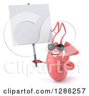 Clipart Of A 3d Pink Shrimp Wearing Sunglasses And Holding A Blank Sign Royalty Free Illustration by Julos