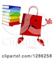 Clipart Of A 3d Unhappy Red Shopping Or Gift Bag Character Jumping And Holding A Stack Of Books Royalty Free Illustration