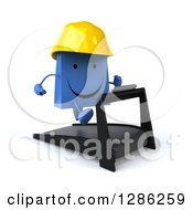 Clipart Of A 3d Happy Blue Construction Shopping Or Gift Bag Character Running On A Treadmill Royalty Free Illustration