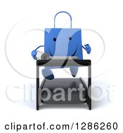Clipart Of A 3d Happy Blue Shopping Or Gift Bag Character Running With Plans On A Treadmill Royalty Free Illustration