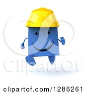 Clipart Of A 3d Happy Blue Construction Shopping Or Gift Bag Character Wearing A Hardhat And Running Royalty Free Illustration