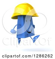 Clipart Of A 3d Happy Blue Construction Shopping Or Gift Bag Character Wearing A Hardhat And Running To The Right Royalty Free Illustration