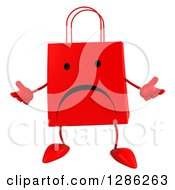 Clipart Of A 3d Unhappy Red Shopping Or Gift Bag Character Shrugging Royalty Free Illustration