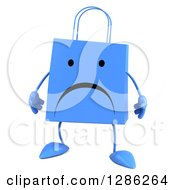 Clipart Of A 3d Unhappy Blue Shopping Or Gift Bag Character Royalty Free Illustration