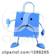 Clipart Of A 3d Unhappy Blue Shopping Or Gift Bag Character Holding A Thumb Down Royalty Free Illustration