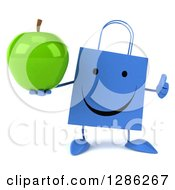 Clipart Of A 3d Happy Blue Shopping Or Gift Bag Character Holding A Thumb Up And A Green Apple Royalty Free Illustration