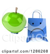 Clipart Of A 3d Unappy Blue Shopping Or Gift Bag Character Holding Up A Green Apple Royalty Free Illustration