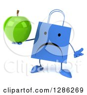 Clipart Of A 3d Unappy Blue Shopping Or Gift Bag Character Shrugging And Holding A Green Apple Royalty Free Illustration
