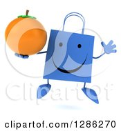Clipart Of A 3d Happy Blue Shopping Or Gift Bag Character Jumping And Holding An Orange Royalty Free Illustration