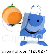 Clipart Of A 3d Happy Blue Shopping Or Gift Bag Character Holding And Pointing To An Orange Royalty Free Illustration