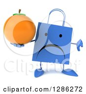 Clipart Of A 3d Unhappy Blue Shopping Or Gift Bag Character Holding A Thumb Down And An Orange Royalty Free Illustration