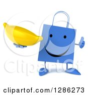 Clipart Of A 3d Happy Blue Shopping Or Gift Bag Character Holding A Thumb Up And Banana Royalty Free Illustration