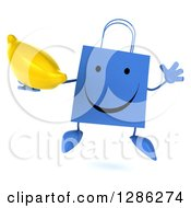 Clipart Of A 3d Happy Blue Shopping Or Gift Bag Character Jumping And Holding A Banana Royalty Free Illustration