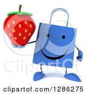 Clipart Of A 3d Happy Blue Shopping Or Gift Bag Character Holding A Strawberry Royalty Free Illustration