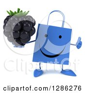 Clipart Of A 3d Happy Blue Shopping Or Gift Bag Character Holding A Blackberry And Thumb Up Royalty Free Illustration