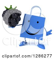 Clipart Of A 3d Happy Blue Shopping Or Gift Bag Character Shrugging And Holding A Blackberry Royalty Free Illustration
