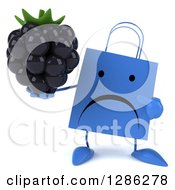 Clipart Of A 3d Unhappy Blue Shopping Or Gift Bag Character Holding And Pointing To A Blackberry Royalty Free Illustration