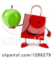 Clipart Of A 3d Happy Red Shopping Or Gift Bag Character Holding A Green Apple Royalty Free Illustration