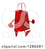 Clipart Of A 3d Happy Red Shopping Or Gift Bag Character Running To The Right Royalty Free Illustration