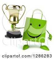 Clipart Of A 3d Happy Green Shopping Or Gift Bag Character Holding A Trophy Royalty Free Illustration