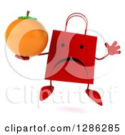 Clipart Of A 3d Unhappy Red Shopping Or Gift Bag Character Jumping And Holding An Orange Royalty Free Illustration
