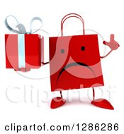 Clipart Of A 3d Unhappy Red Shopping Or Gift Bag Character Holding Up A Finger And A Present Royalty Free Illustration