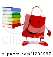 Clipart Of A 3d Happy Red Shopping Or Gift Bag Character Holding A Stack Of Books Royalty Free Illustration