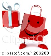 Clipart Of A 3d Happy Red Shopping Or Gift Bag Character Holding And Pointing To A Present Royalty Free Illustration